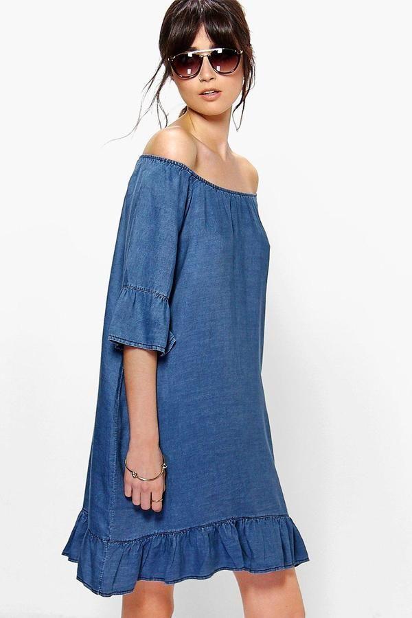 c007b99147 boohoo Ada Off The Shoulder Ruffle Sleeve Denim Dress