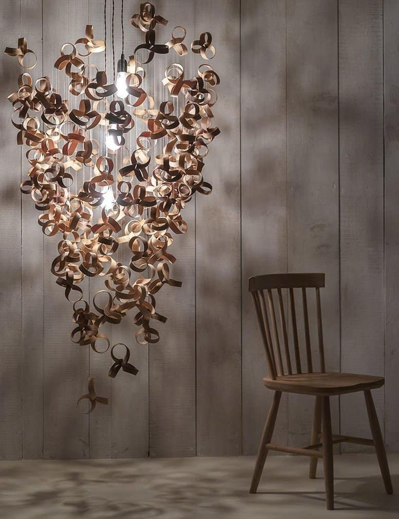 Love This Giant Flock Chandelier Lighting Pendant By Tom Raffield Hand Made Using Sustainable Wood Ash Lighting Design Contemporary Chandelier Tom Raffield