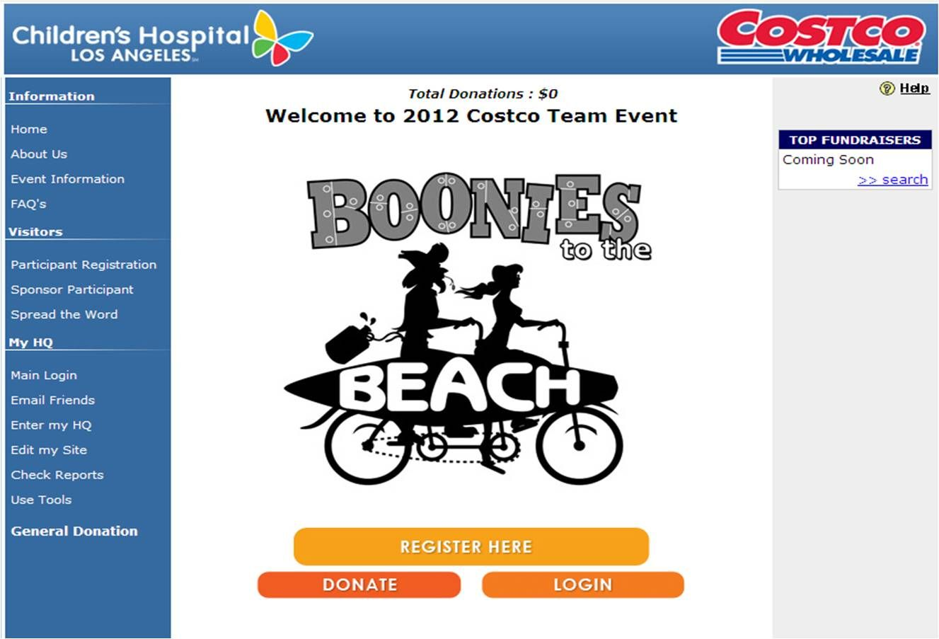 Costco's Beach to Boonies Bike Ride. Be the first to sign up:   http://chla.kintera.org/faf/home/default.asp?ievent=1019056
