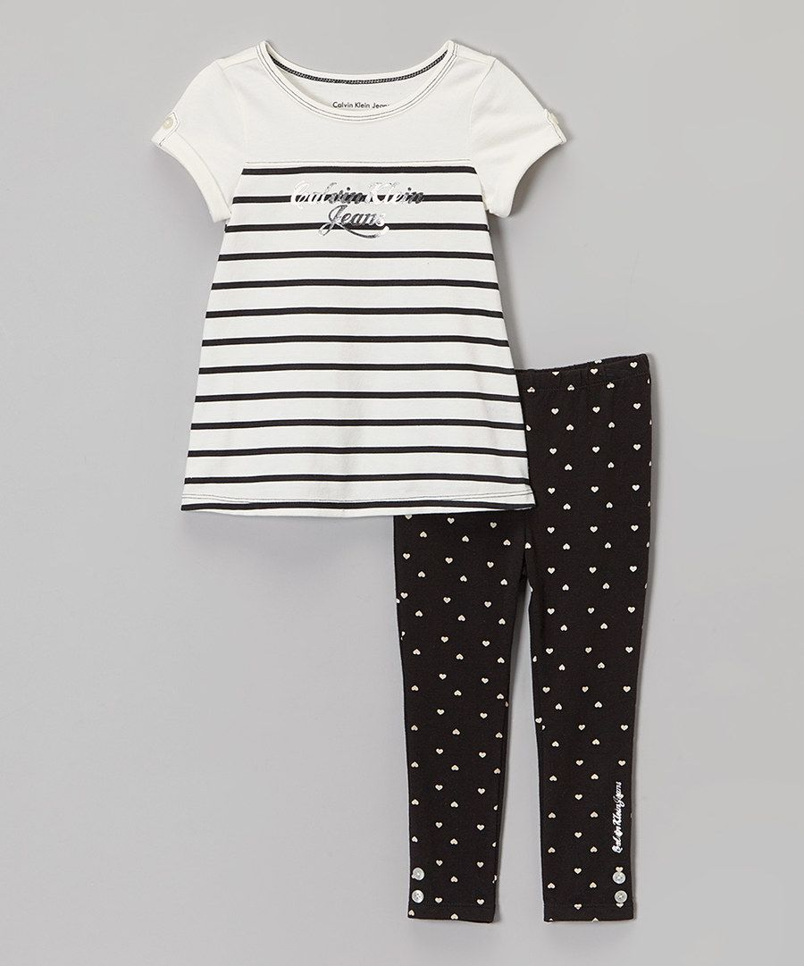 Look at this White & Navy Tunic & Heart Leggings - Infant, Toddler & Girls on #zulily today!