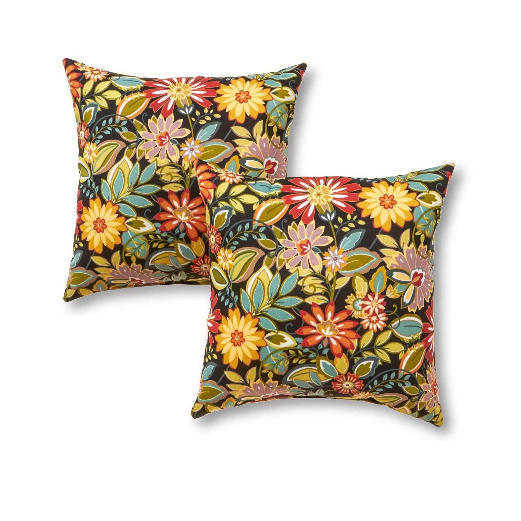 Outdoor 17 Inch Square Accent Pillows Set Of Two In Jungle Floral