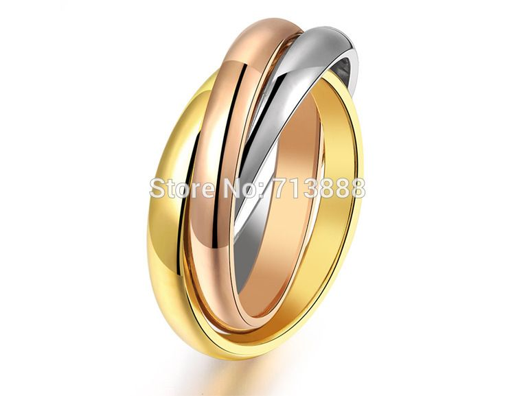 Find More Rings Information About Hot Sell Women S Men S Titanium Steel Three Ring Three Color Ring Va Stainless Steel Rings Steel Ring Wedding Rings Rose Gold