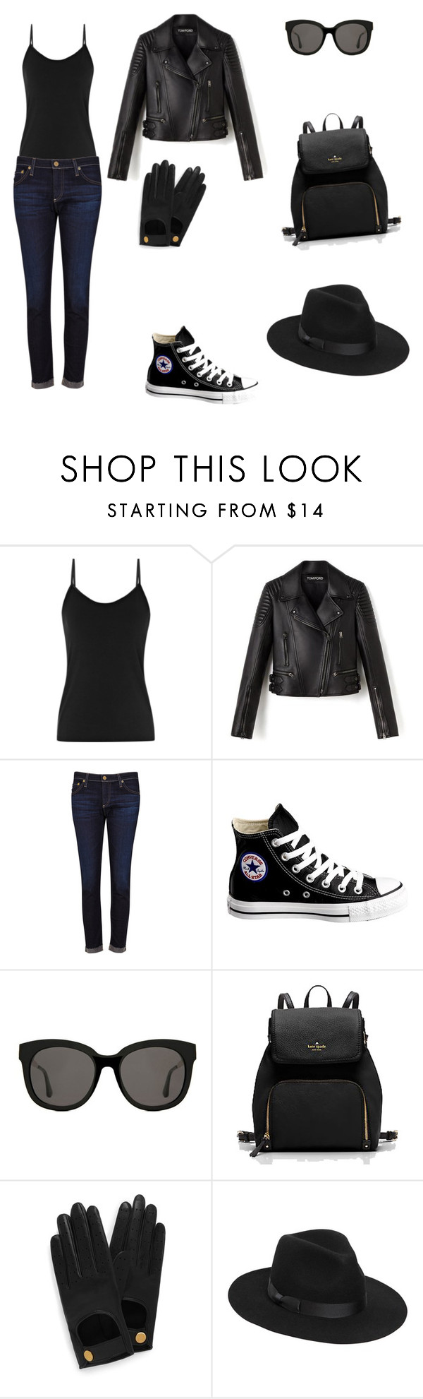 """Untitled #1"" by connerclankids ❤ liked on Polyvore featuring AG Adriano Goldschmied, Converse, Gentle Monster, Mulberry and Lack of Color"