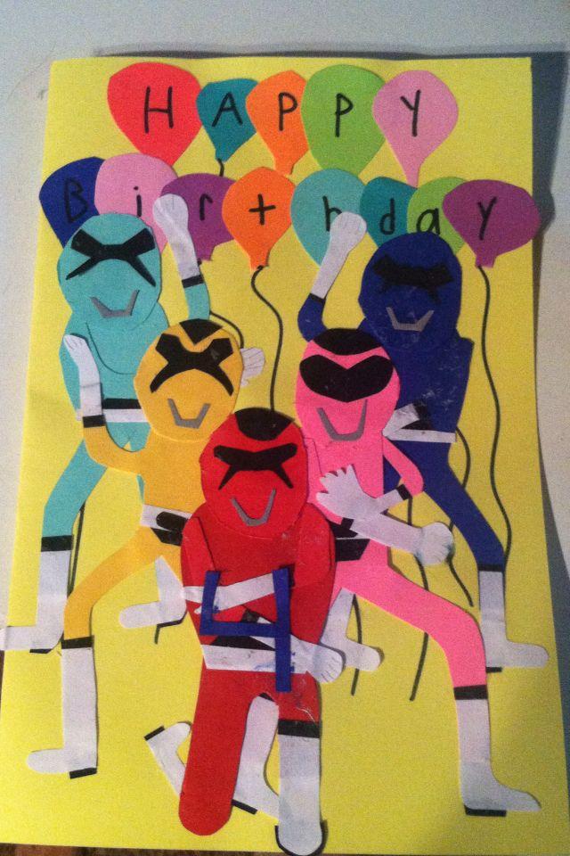 Handmade Power Rangers Birthday Card Handmade Cards Pinterest