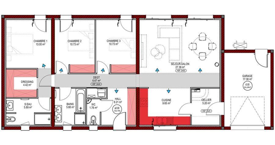 Plan De Maison Maison De Plain Pied 120 M2 6