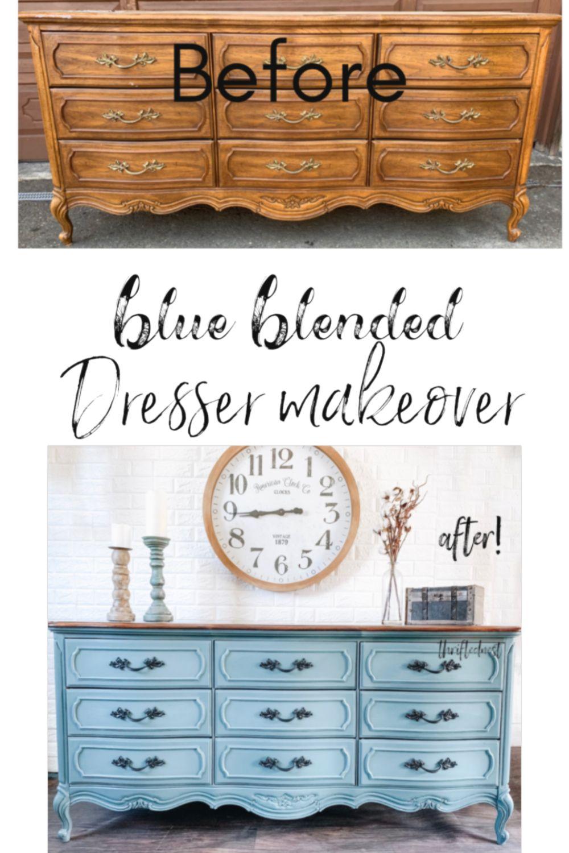 Blue Blended Dresser Makeover   How to Blend with Chalk ...