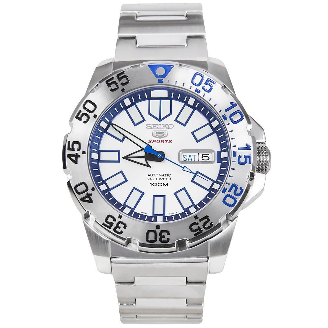Srp481k1 Srp481 Seiko 5 Sports Monster Automatic With Blue Leather Strap Watch Seiko 5 Sports Seiko Seiko Monster
