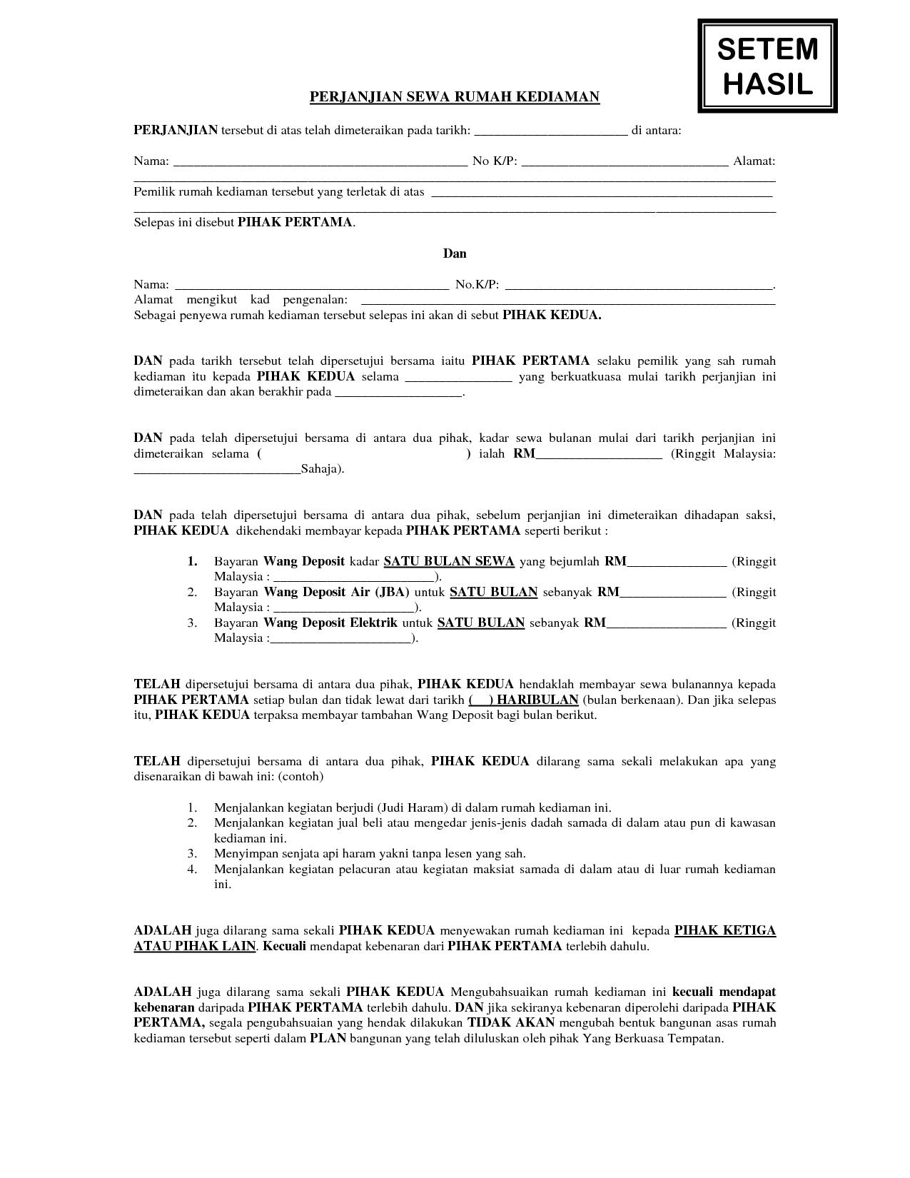 contoh surat perjanjian sewa rumah kediaman pinterest