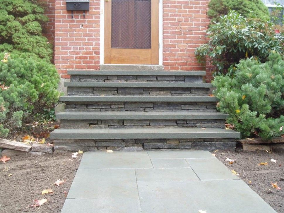 Best Exteriors Country Small Front Porch Step Design Made Fromt Grey Stone And Also Exposed Brick 640 x 480