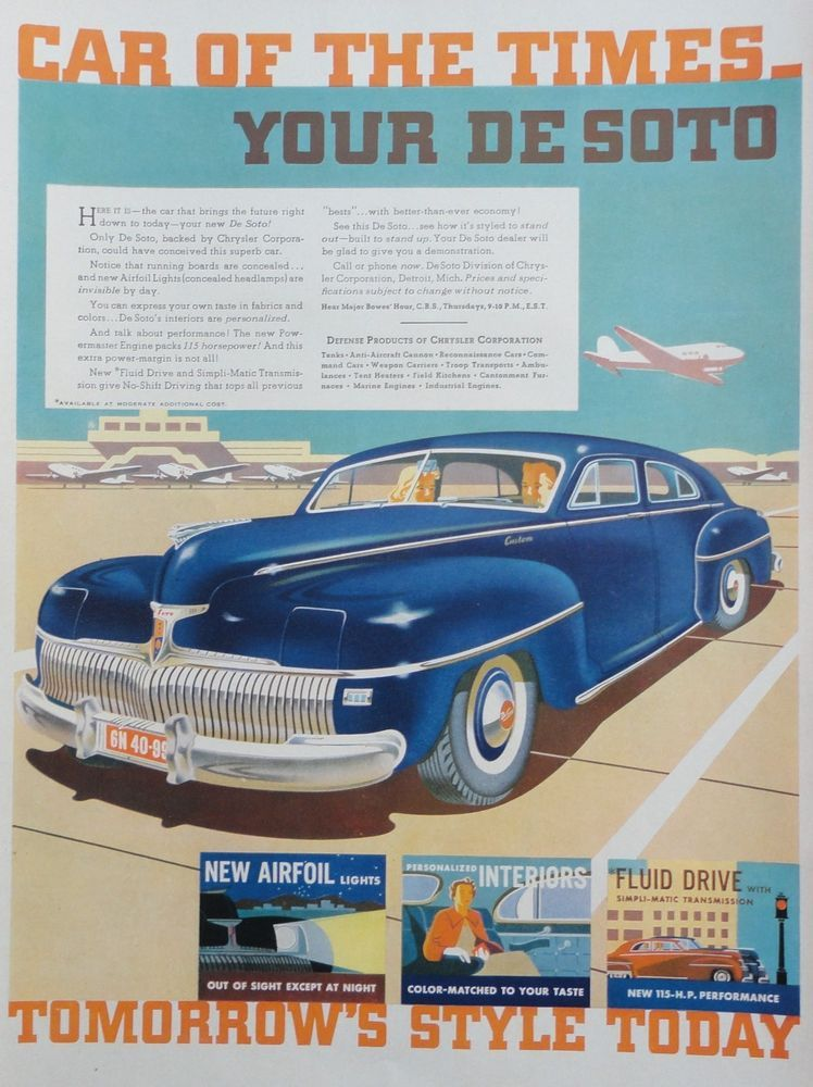 1941 ORIG. PRINT AD DE SOTO car of the times backed by Chrysler, on ...