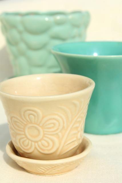 Vintage Mccoy Pottery Flower Pots Planters Blue Green Aqua Instant Collection Vintage Flower Pots Mccoy Pottery Vintage Pottery Planters
