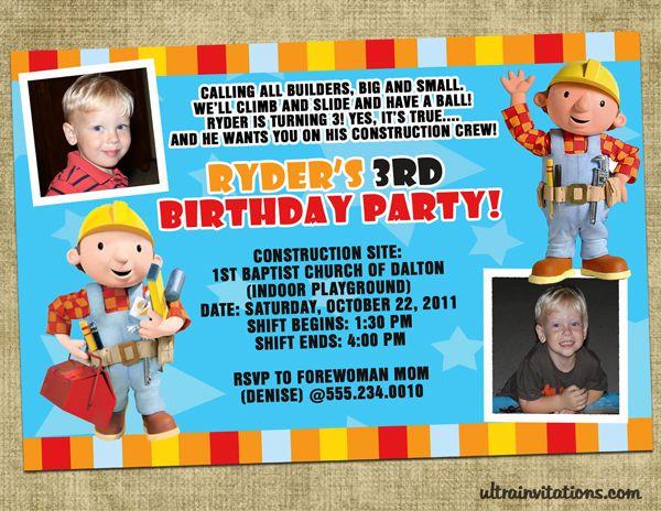 Bob the Builder Invitation Birthdays Pinterest – Bob the Builder Party Invitations