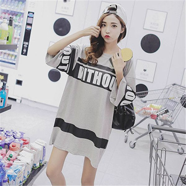 fc833e64ec52e  楽天市場 2018 韓国 原宿系 ファッション レディース ロゴ 半袖 Tシャツ ワンピ カラフル