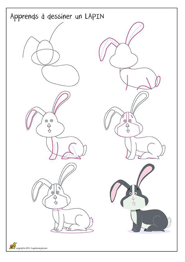 Apprendre à dessiner un lapin de profil, méthode pour dessiner un ...