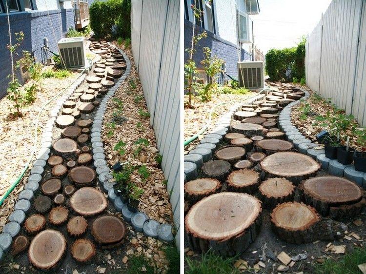 Gartenweg Anlegen Holzscheiben Unterschiedliche Groessen Gartenweg Holz Gehweg Hintergarten
