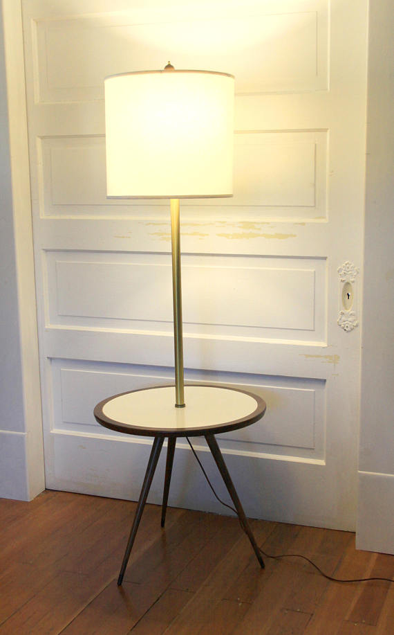 Cool Mid Century Modern Floor Lamp With An Attached Wood Laminate Side Table With Modern Tapered Legs A Dark Wood Tripod Floor Lamp Tripod Floor Lamps Lamp
