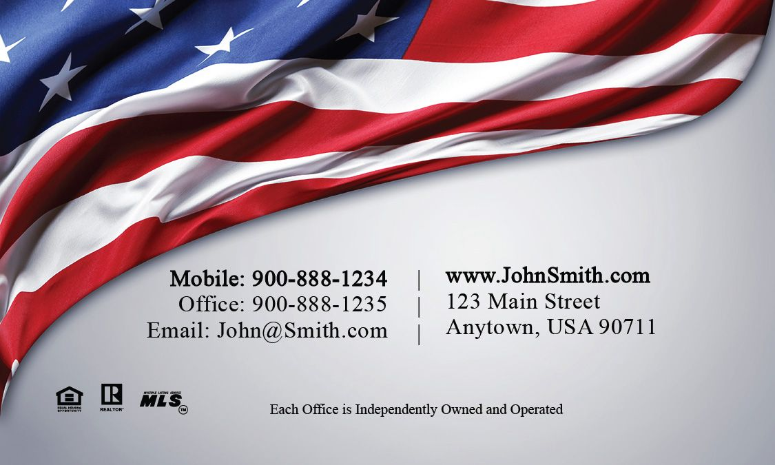 Century 21 Business Card American Flag Design 102261 Realtor Business Cards Real Estate Business Cards Business Cards Online