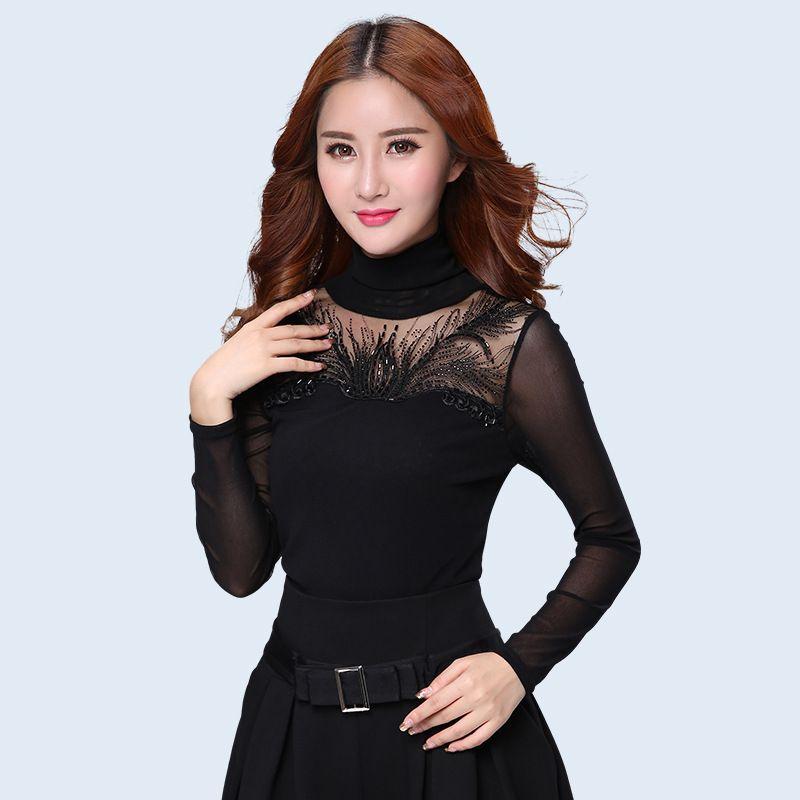 9449ebe0924 Spring and Autumn women lace tops Fashion Casual Long sleeved Women blouse  shirt Turtleneck Diamonds lace shirt plus size blusas