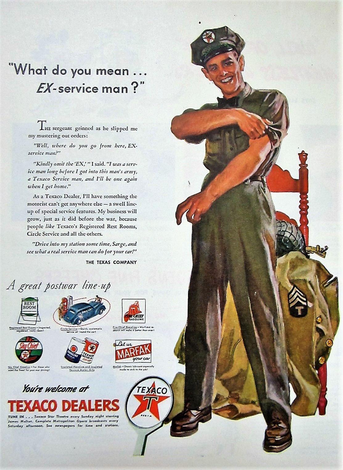 1945 Texaco Dealers Vintage Advertisement Gas Station Wall Art Man Cave Decor Automotive Print Original Magazine Ad WWII Military Ephemera