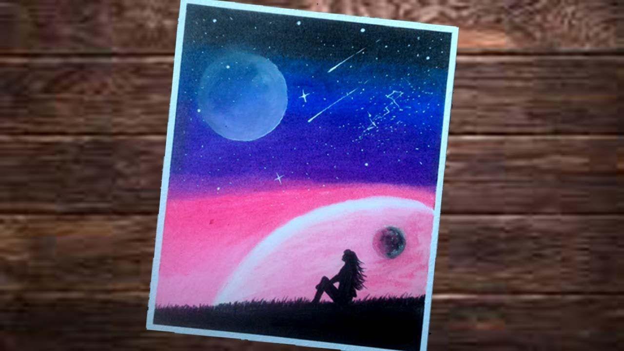 Cara Menggambar Galaxy Malam Dan Wanita Duduk Gambar Mudah Menggunakan Cara Menggambar Lukisan Seni Seni