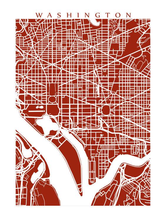 Washington Map Art District of Columbia poster