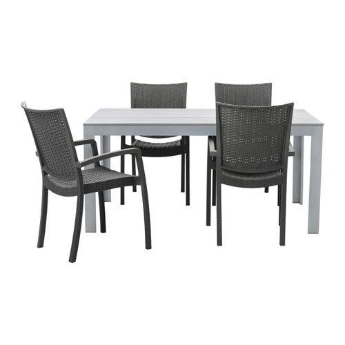 FALSTER / INNAMO Ulkokalustesetti (pöytä/4 nojatu) - harmaa/tummanharmaa - IKEA 389 e