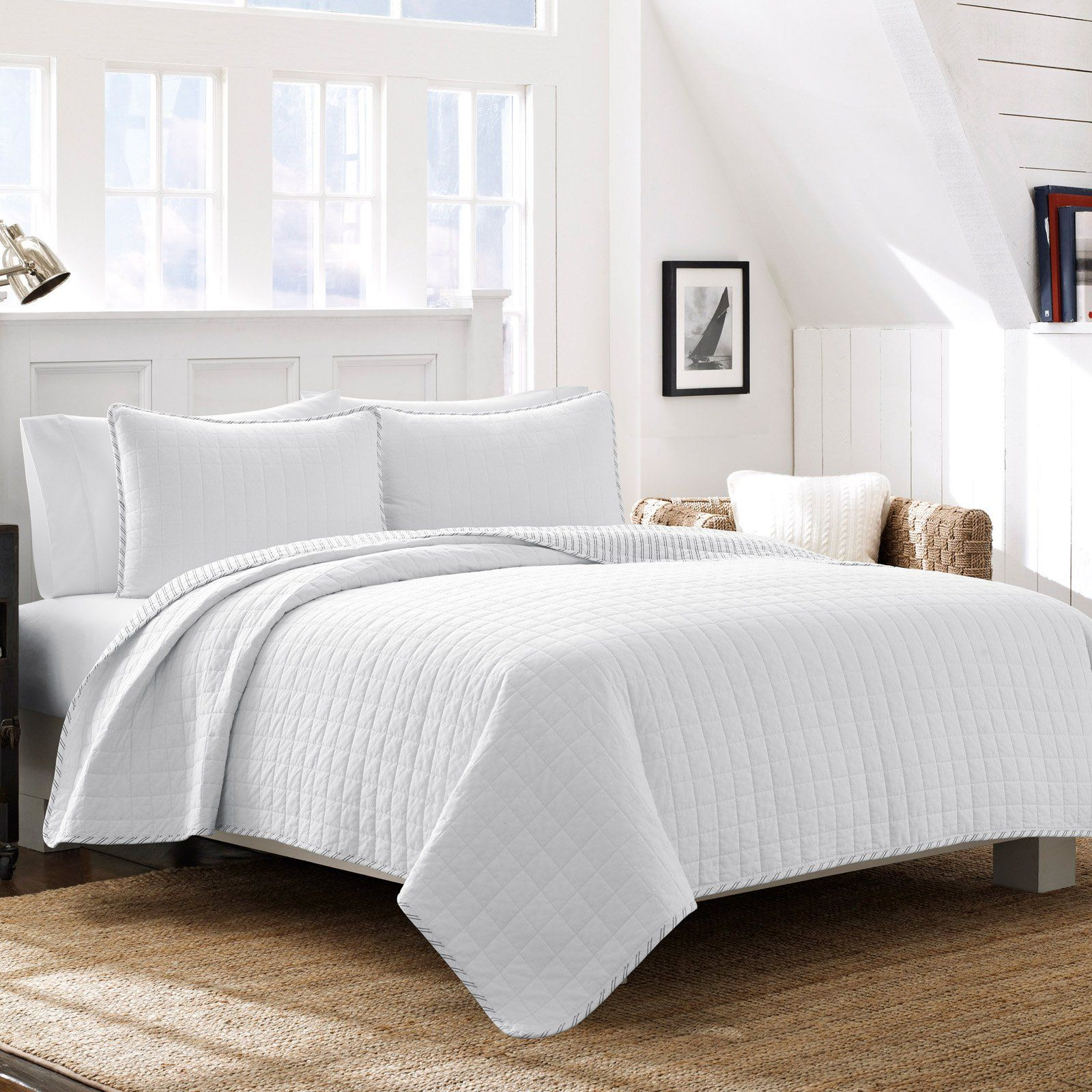 Cotton Quilt Set By Nautica White Size Full Queen Luxurious