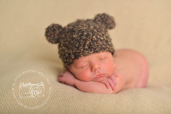 d7cab0a2c94 Baby Bear Hat Newborn Photo Prop Crochet Baby by BabyGraceHats