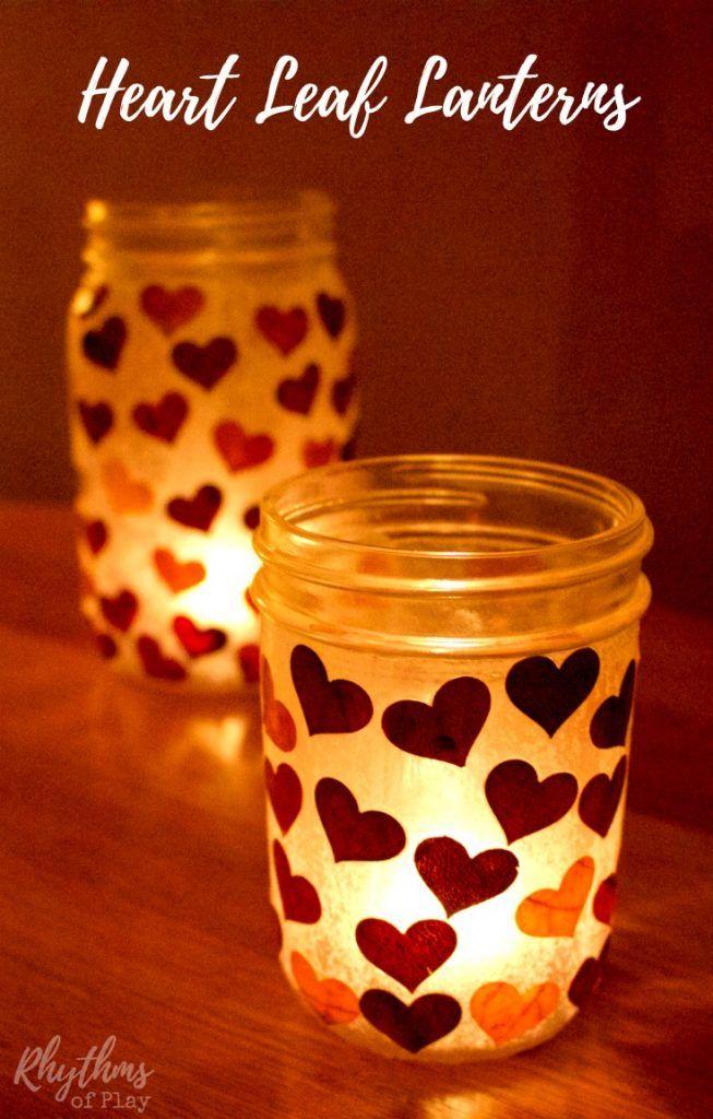 Beautiful DIY Heart Leaf Lanterns Design