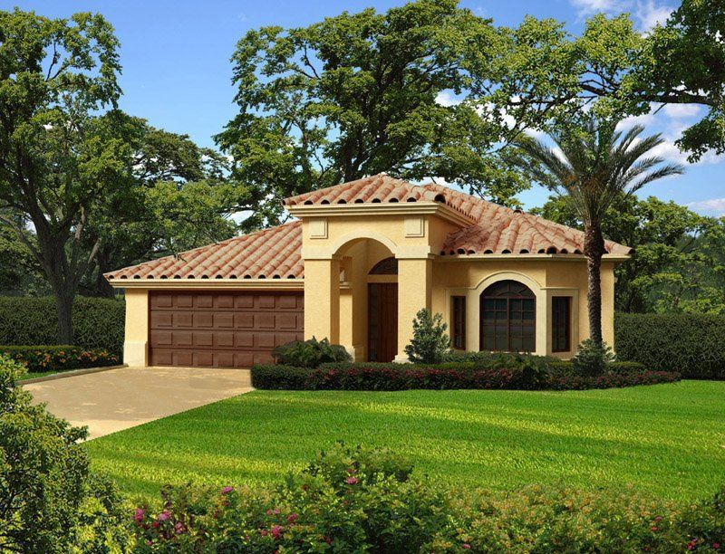 This One Story Waterfront Mediterranean House Plan Has Three Bedrooms Two And O Mediterranean House Plans Mediterranean Style House Plans Spanish Style Homes