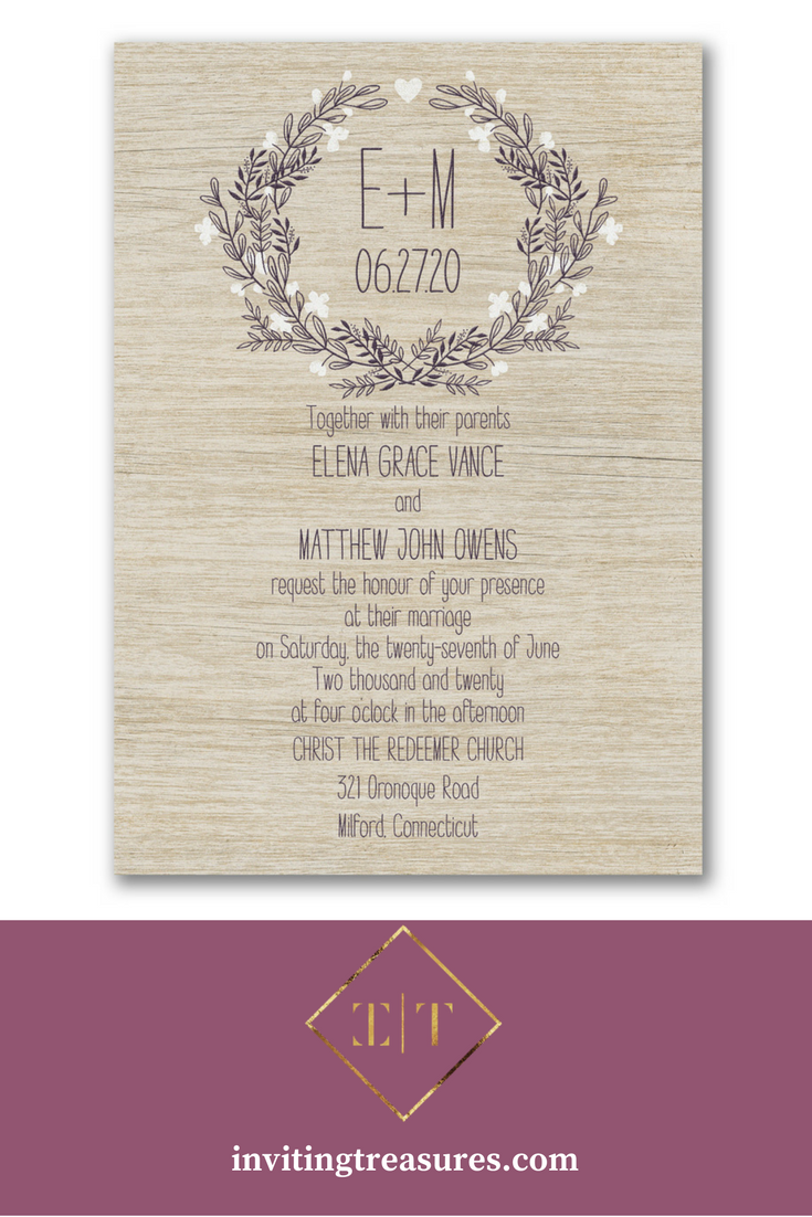 Birch blossom wedding invitation | Simple rustic wedding invitation ...