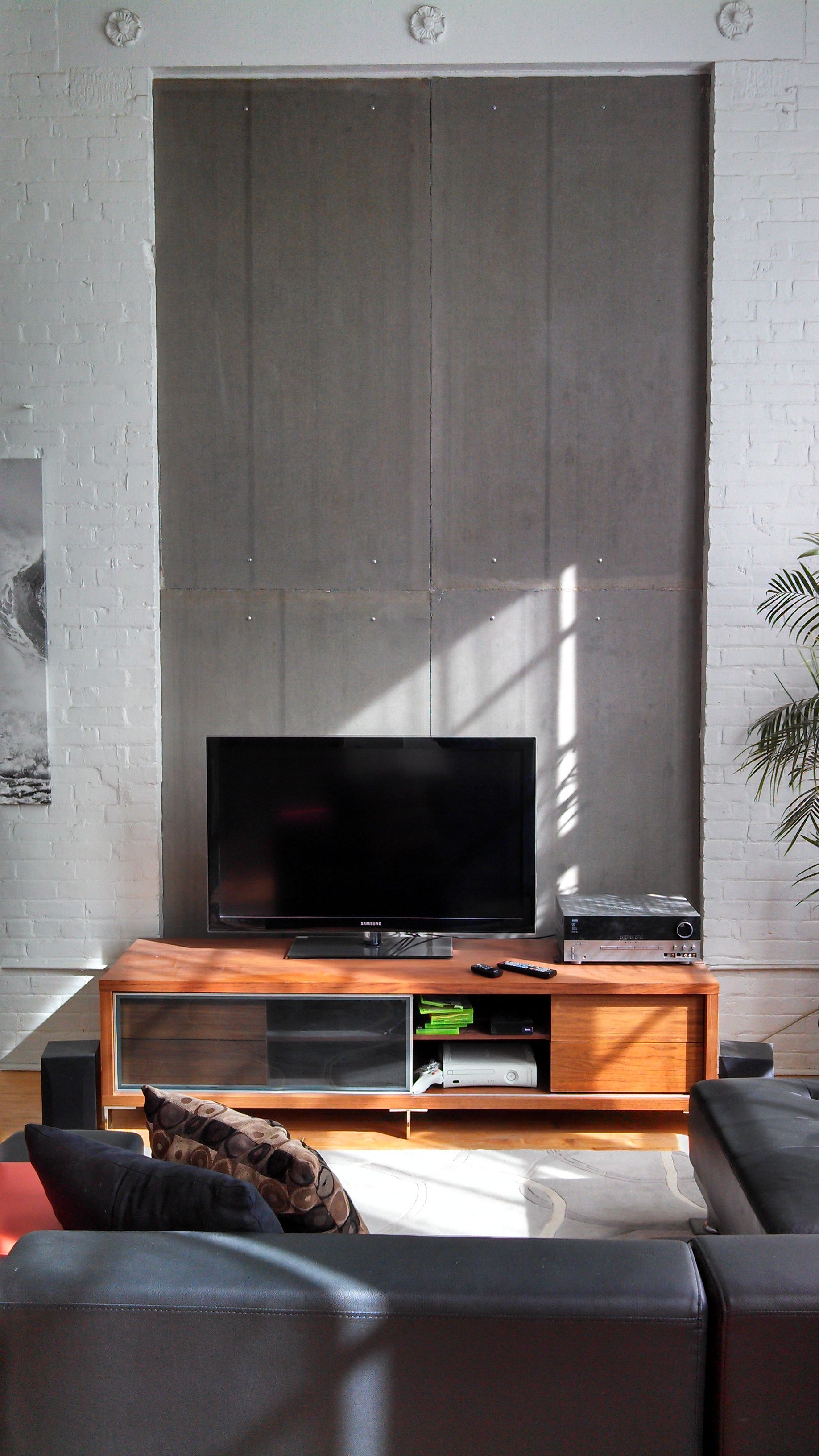 Cement Board Used As A Wall Covering With Images Room Design Fireplace Cover Living Room Designs