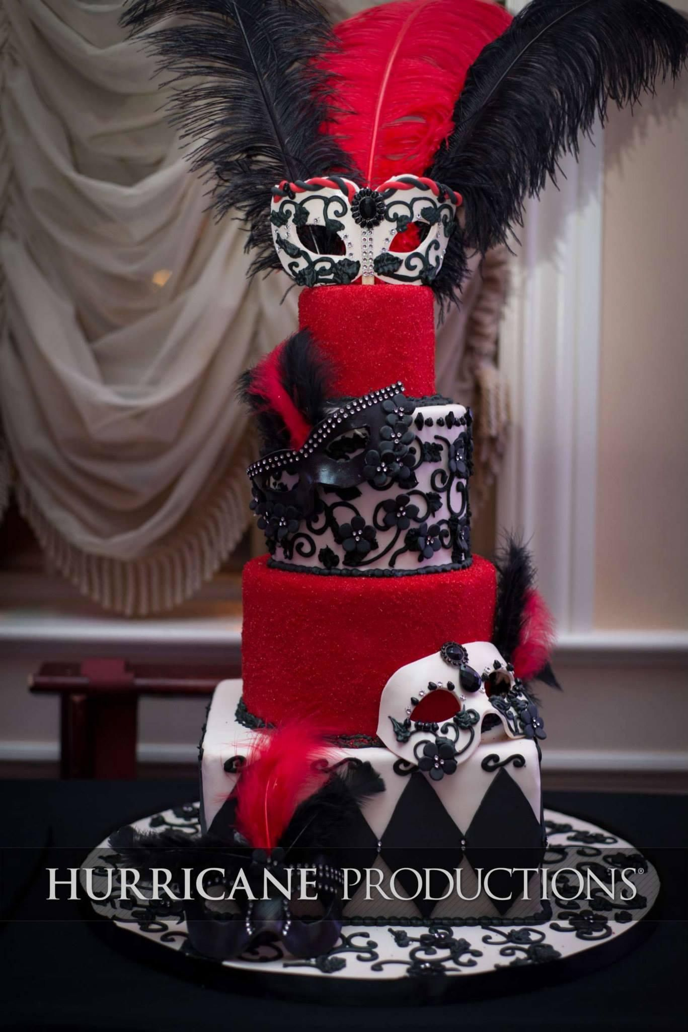 Black White And Red Masquerade Themed Cake With Feather