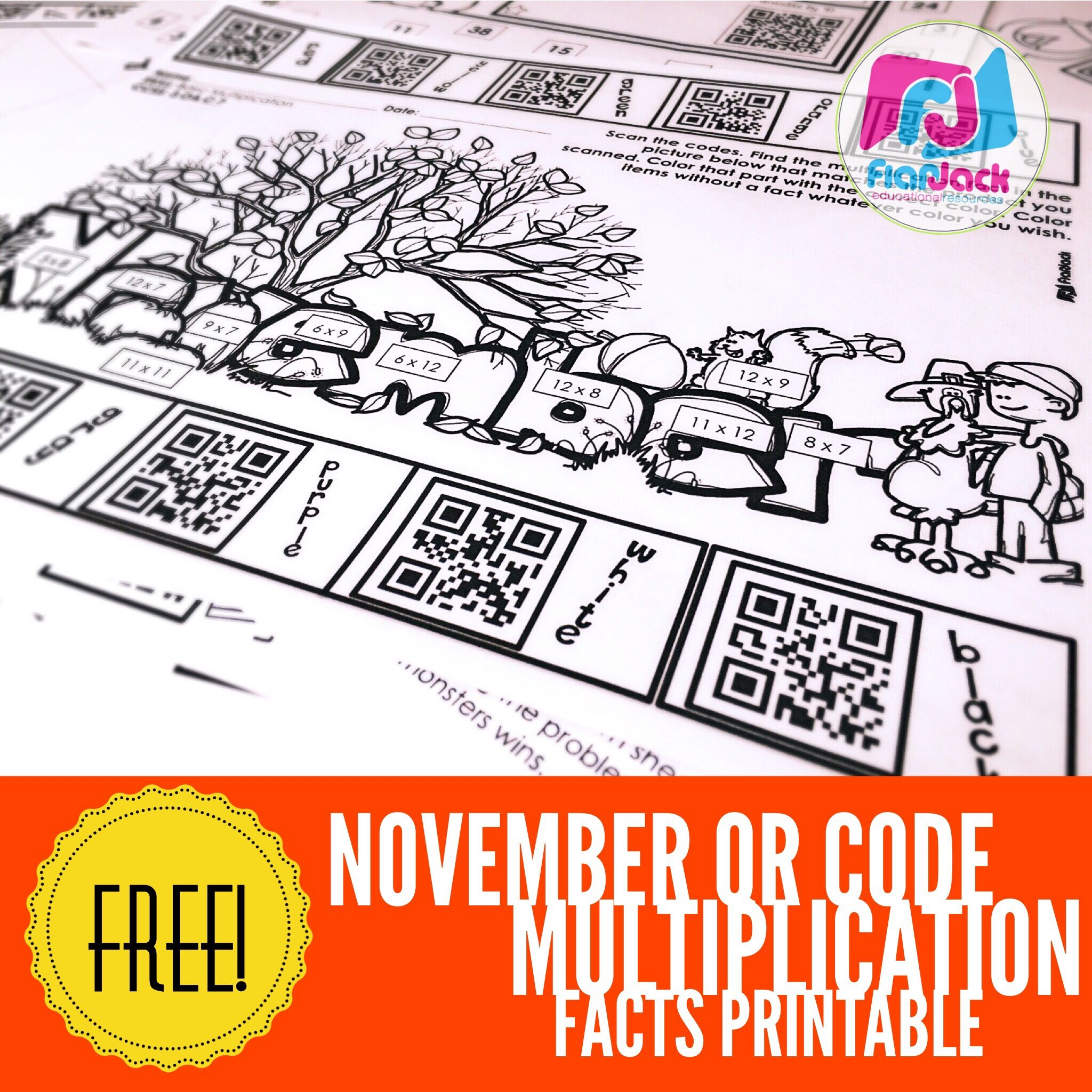 Free Multiplication Facts Worksheet And November Qr Code