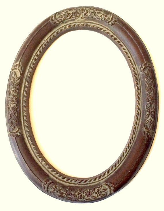 Vintage Oval Frame Floral Design Antiqued Brown by DejaVuVintiques