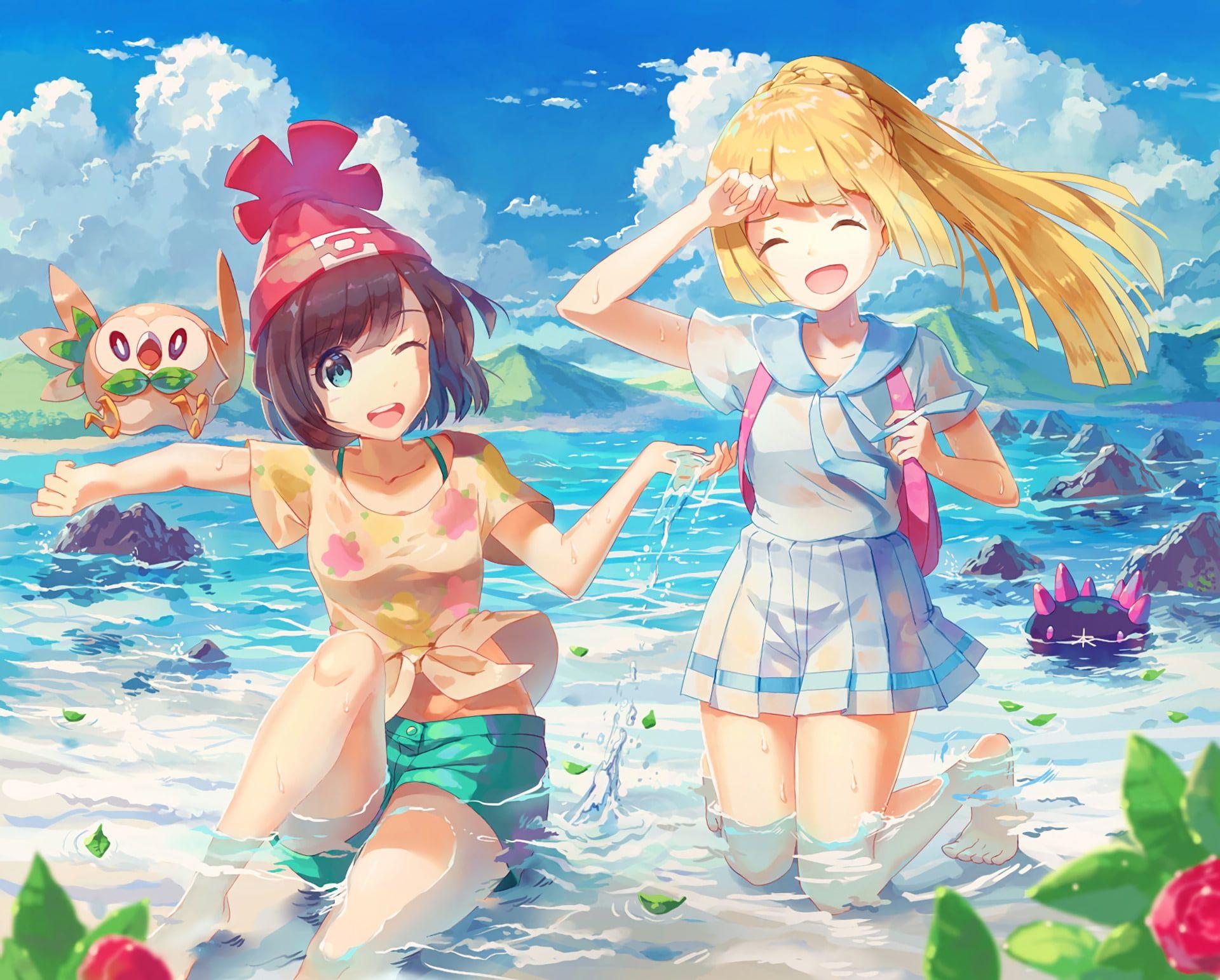 HD wallpaper: Pokémon, Pokémon: Sun and Moon, Lillie (Pokemon), Moon (Pokémon)