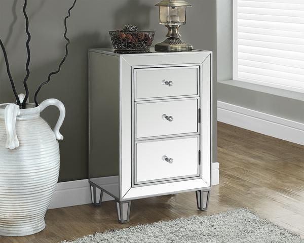 Monarch Specialties Side Table I 3706 Brushed Silver Mirrored 29 H Accent