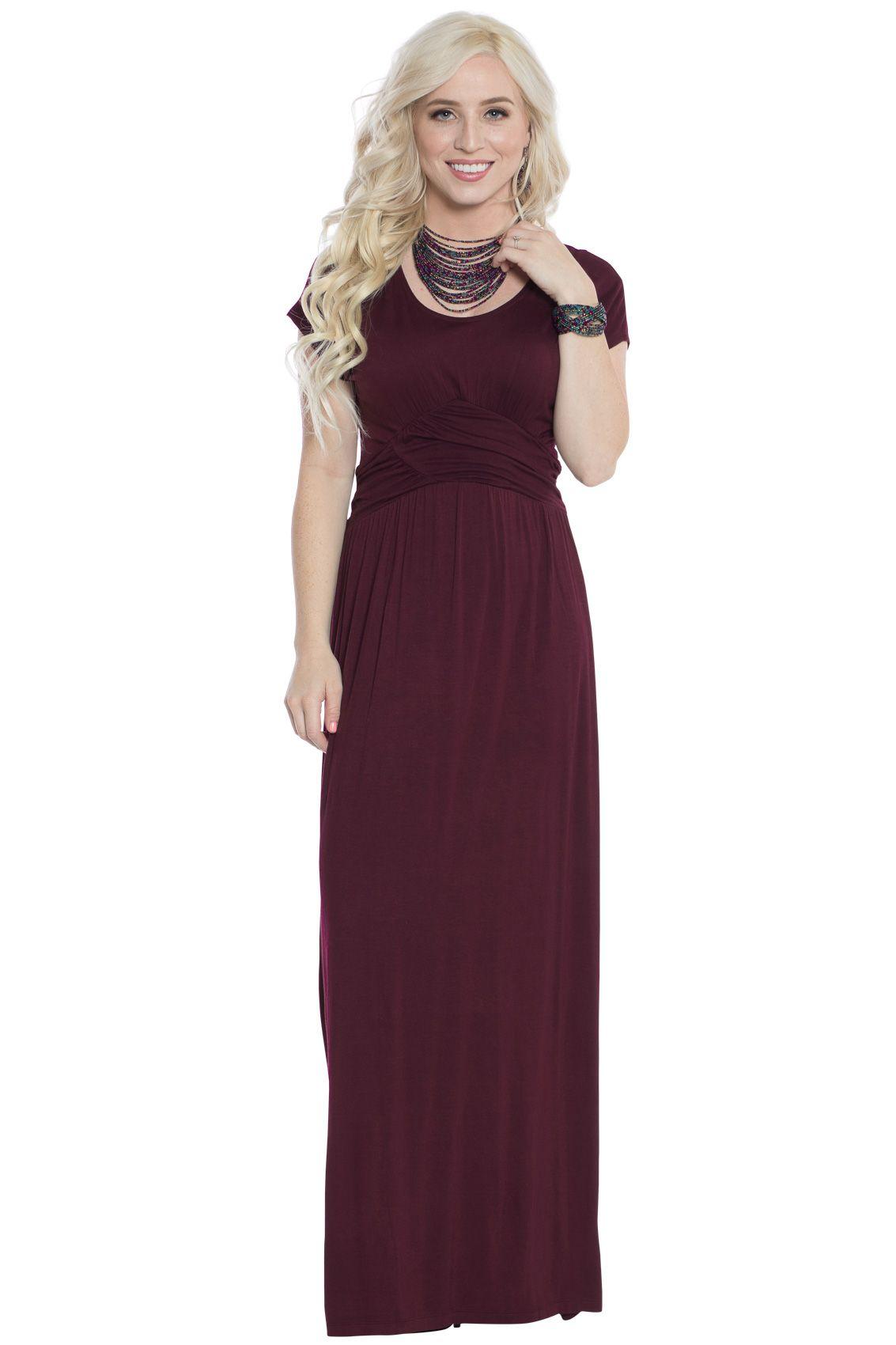 3e3c8eca105c4 Athena Modest Maxi or Bridesmaid Dress in Deep Plum Purple or Burgundy Plum