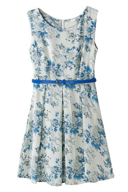 ROMWE | ROMWE Floral Print Belted Pleated Slim Dress, The Latest Street Fashion