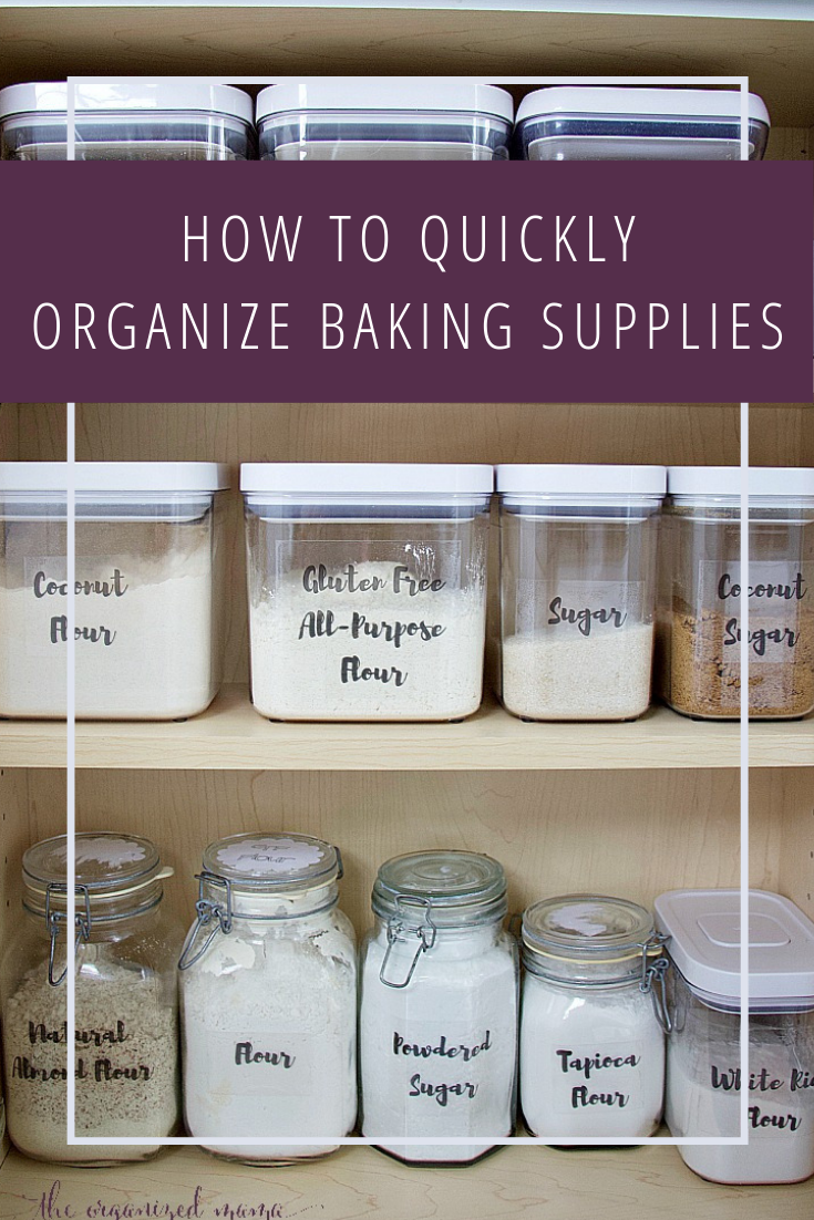 How To Quickly Organize Baking Supplies - Baking supplies organization, Baking organization, Baking supplies, Kitchen baking area, Kitchen organization pantry, Bakery kitchen - Learn how to quickly organize baking supplies from a professional organizer  She shares her favorite products plus gives you FREE hand lettered printable labels!