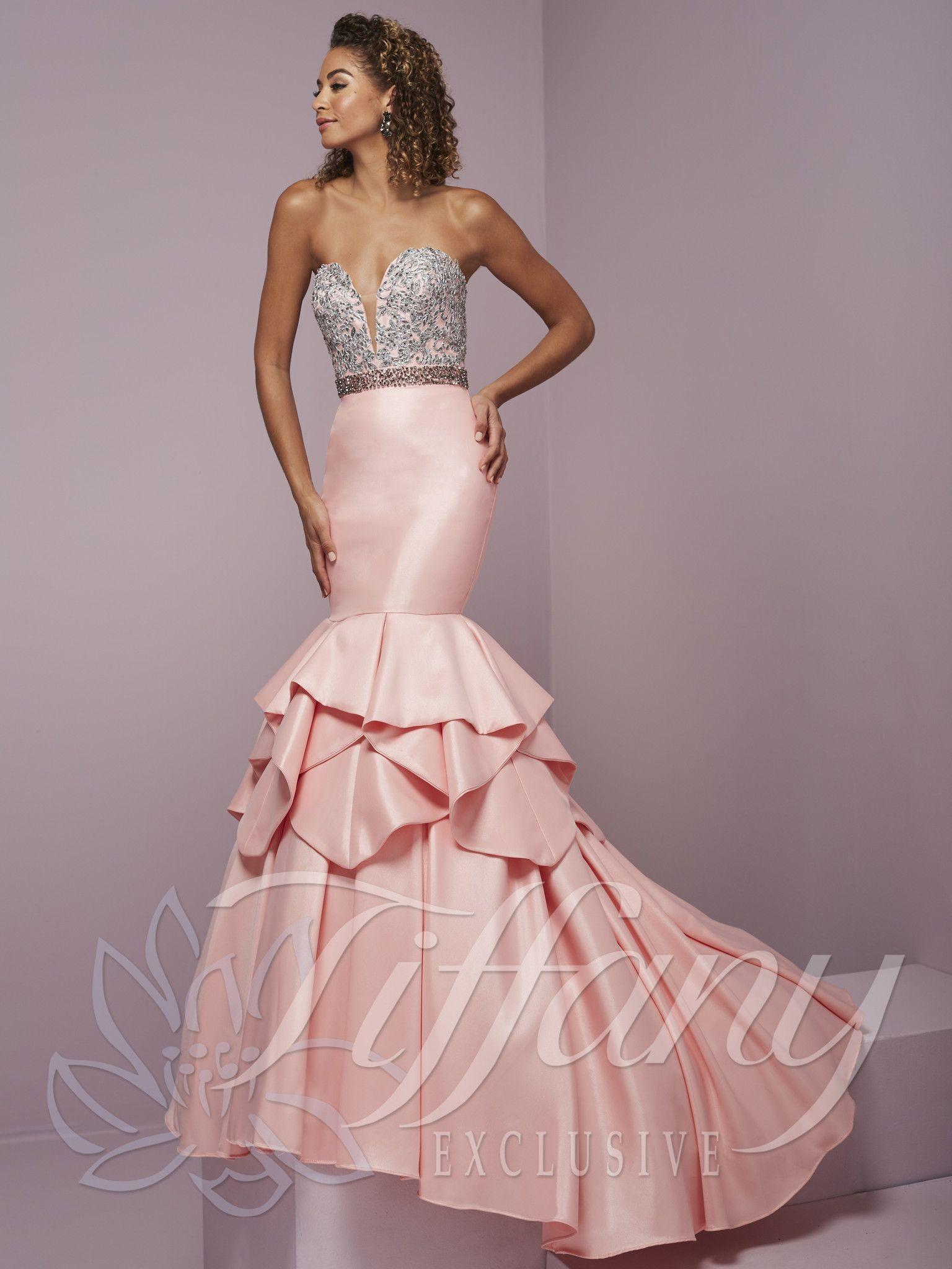 Tiffany Exclusives 46079 Pink Deep Sweetheart Mermaid Prom Dress ...