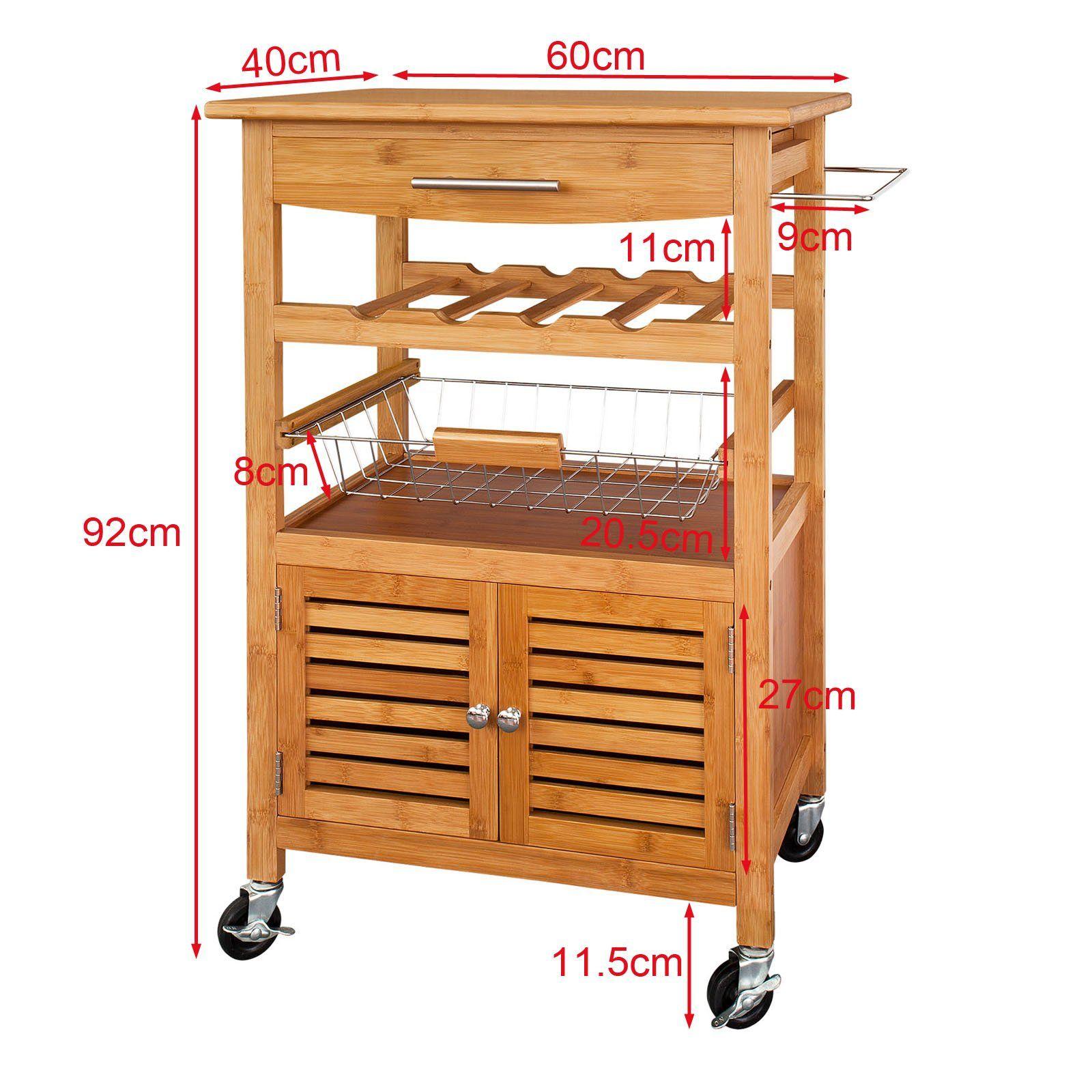 SoBuy H92cm Servierwagen aus hochwertigem Bambus,Küchenwagen ...