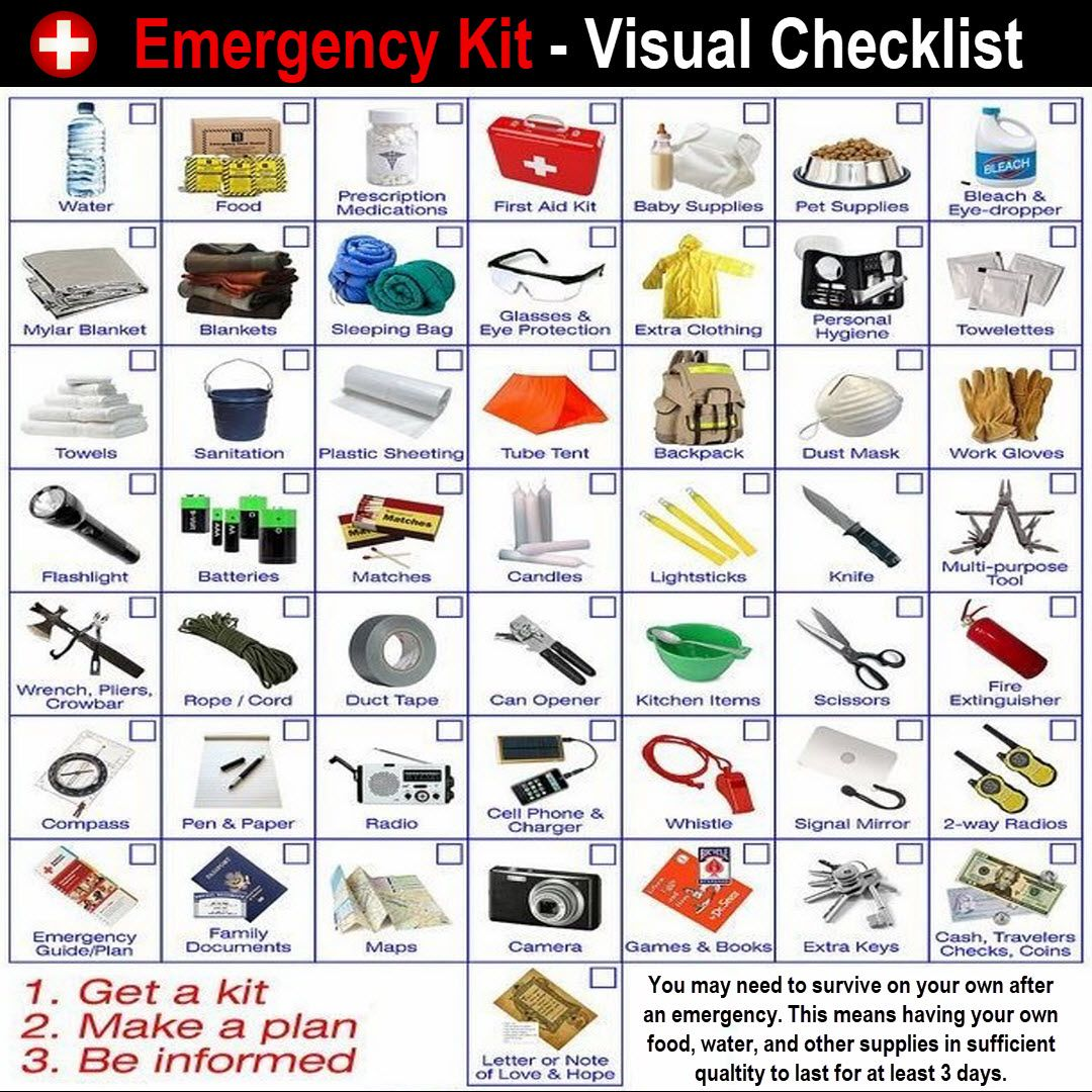 Here's a great visual checklist for an emergency kit. Get