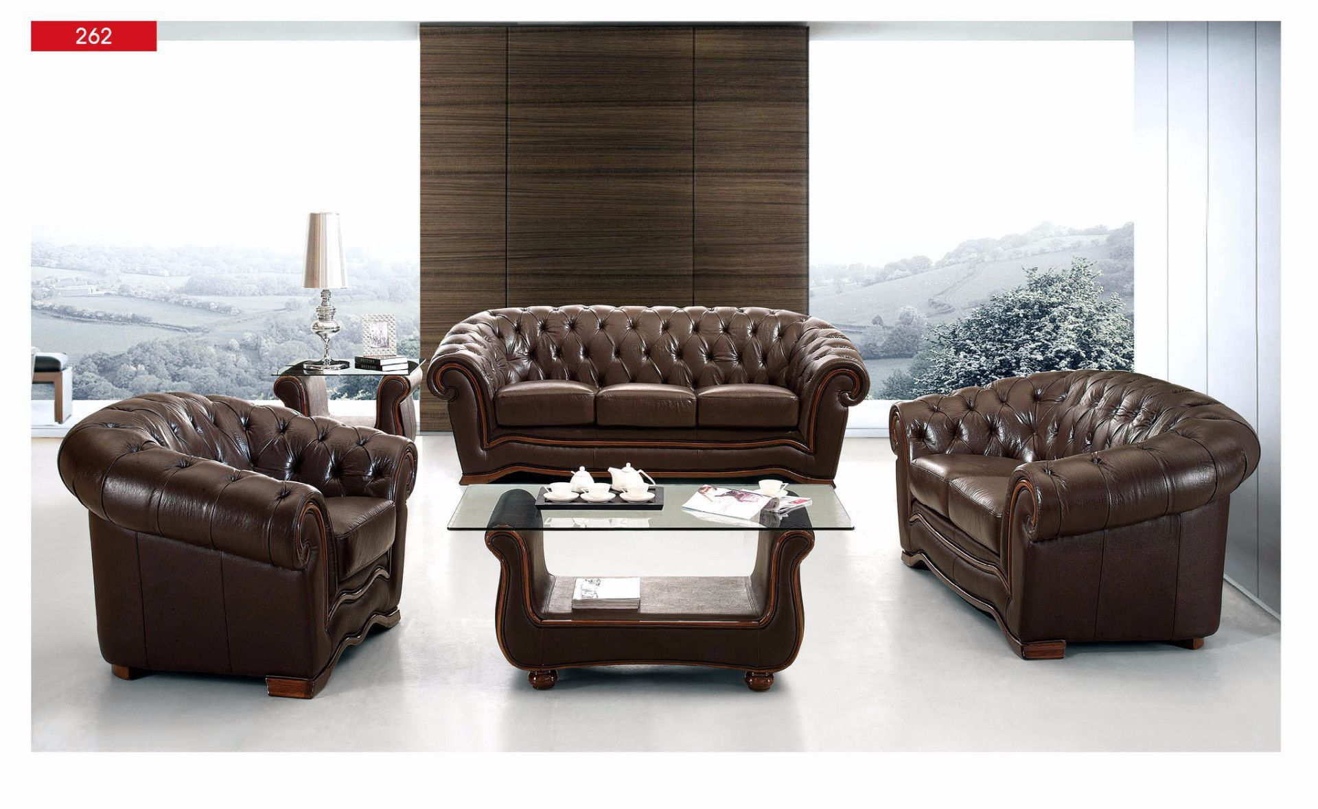 ESF Loveseat 262Description :This brown living room sofa has an inviting appeal and comfort. ESF Loveseat is wrapped in finest genuine Italian leather. Full leather comes standard for this Loveseatand you can always special order it in variety of colors.(Other Product like Sofa, Table and Chair etc., are optional)Materials:Genuine Full Leather FrontsGenuine Full Leather BacksComfortable Seating and BacksWell Constructed FrameComfortable ArmrestsBrown ColorDimensions:Loveseat: W 70x…