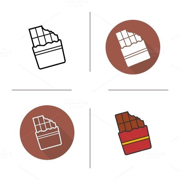 Chocolate Bar Icons Vector Chocolate Logo Web Design Icon Flower Stencil