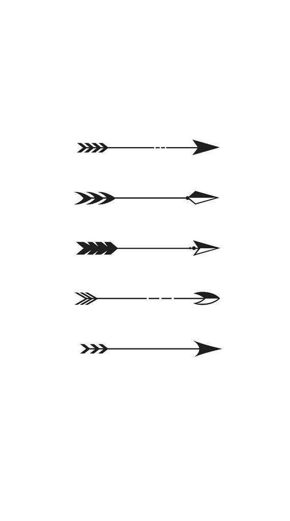5 Mini Tiny Arrow Temporary Tattoos Various Sizes By