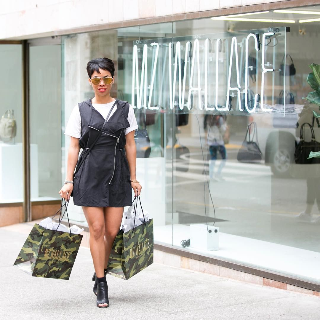 Moanalani Jeffrey leaving the MZ Wallace Pop-Up store in San Francisco after shopping for new bags