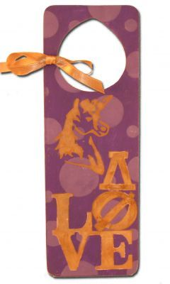 paint this doorhanger with stencils and supplies from diygreek.com. Check out this great website for lots of sorority craft ideas and supplies.