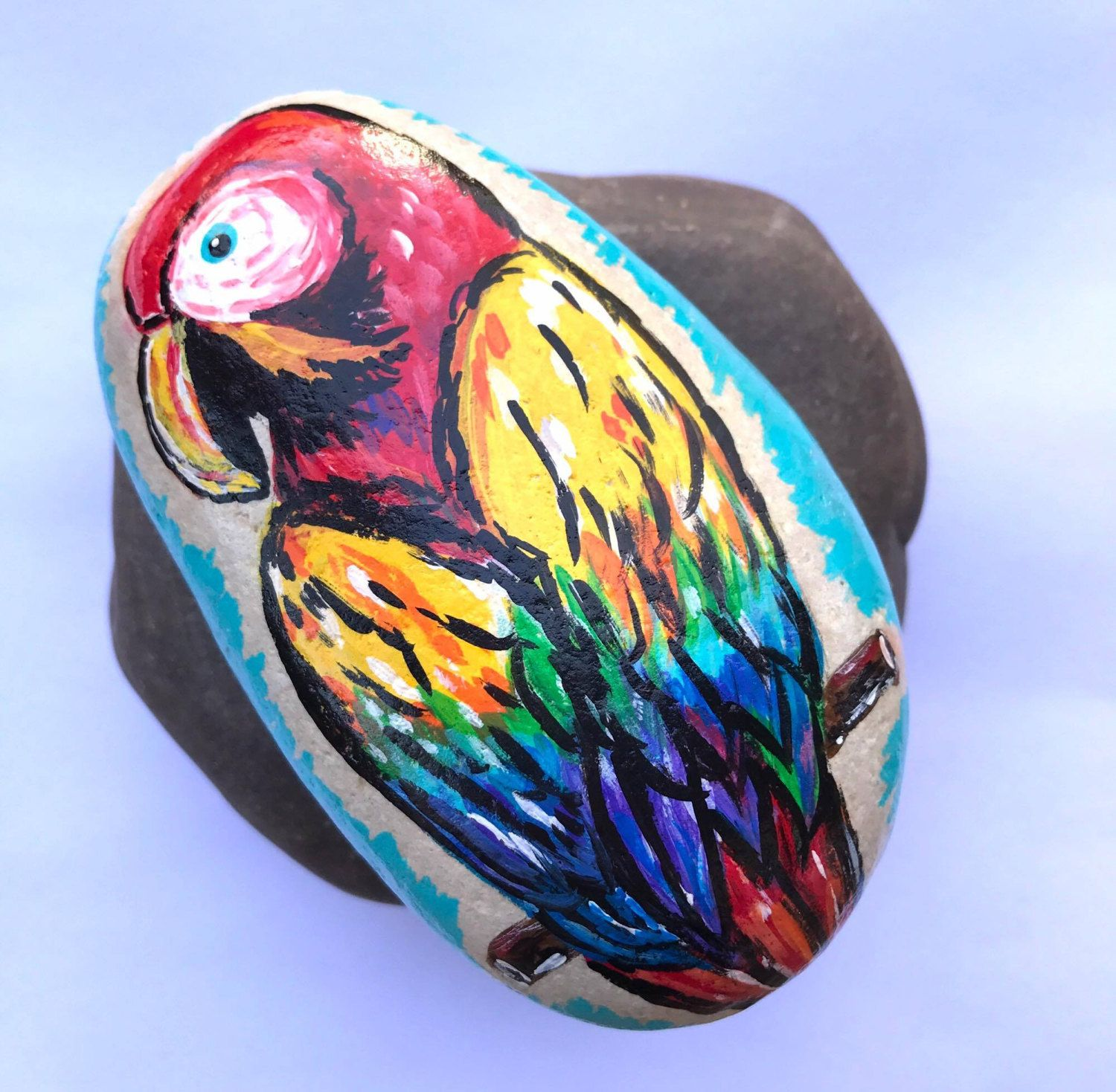 Hand Painted Colorful Parrot Rock Art Home Decor Bird Lovers Tropical