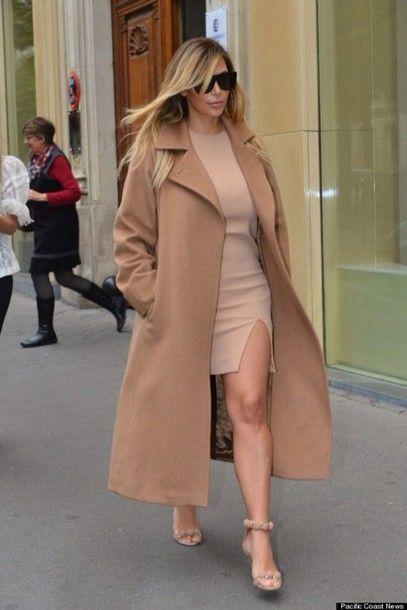 c2e52d522e6 coat kim kardashian camel dress coat. jacket nude coat trench coat  kardashians nude pea coat nude dress